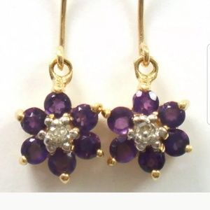 10kt Gold Amethyst  and Diamond Earrings